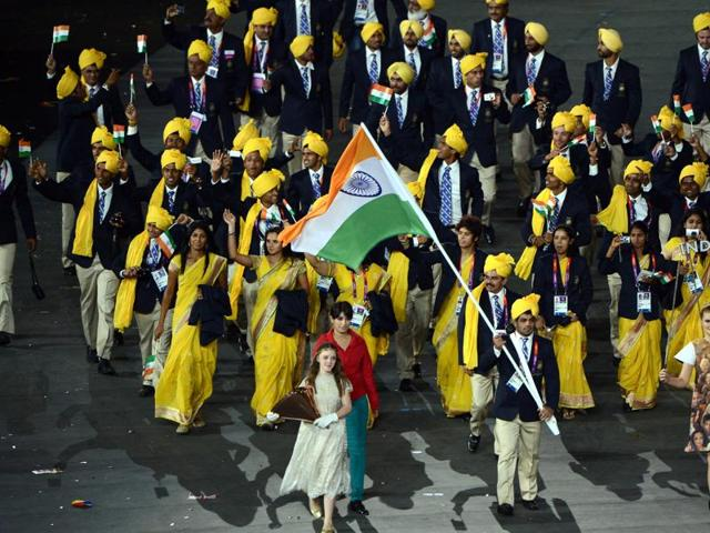 The Indian contingent at the opening ceremony of the 2012 Olympics.