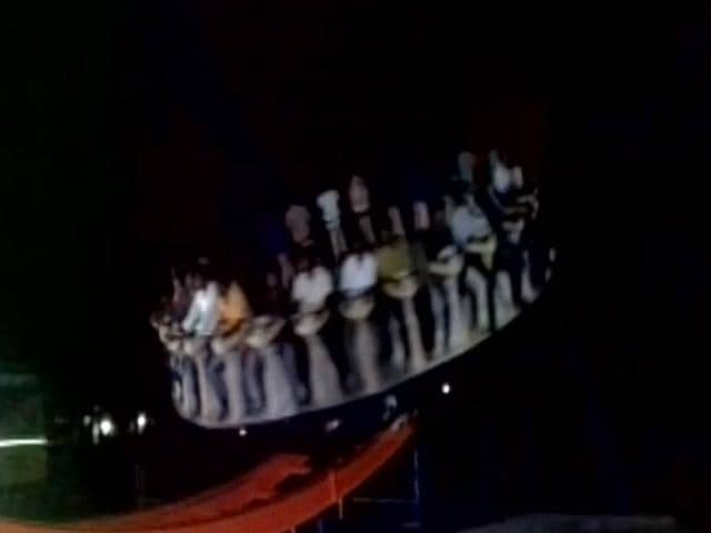 The giant wheel went out of control during a trial ride on Wednesday.(Screen grab from video tweeted by ANI)