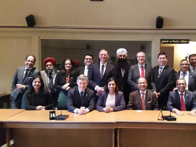 Some members of the Canada India Parliamentary Friendship Group, including its new Chair Liberal Party MP Chandra Arya (second from right). Also seen is India's High Commissioner to Ottawa Vishnu Prakash (third from right)