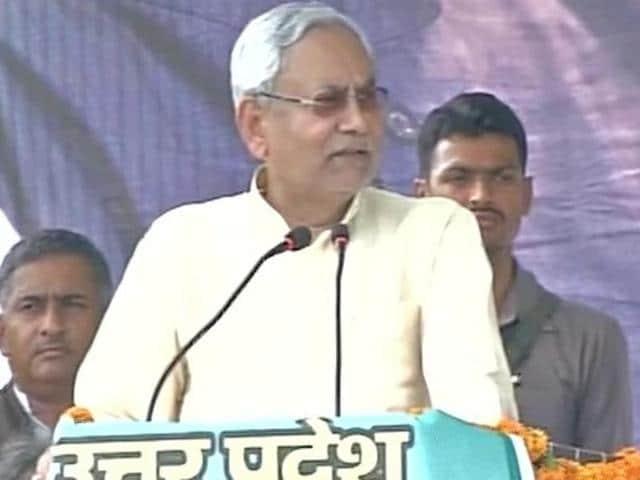 Bihar chief minister Nitish Kumar addressing a rally in Varanasi, Uttar Pradesh, on May 12, 2016.