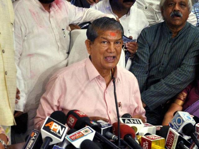 Uttarakhand CM Harish Rawat addresses the media in Dehradun on Wednesday after the Supreme Court approved that he won the trial of strength in the assembly.