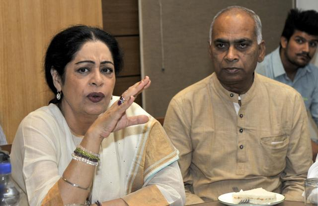 Member of Parliament Kirron Kher interacting with mediapersons at the UT Guest House in Chandigarh on Wednesday.