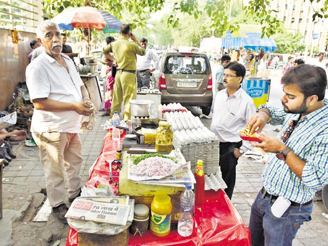 Street food vendors at Barakhamba Lane in New Delhi.
