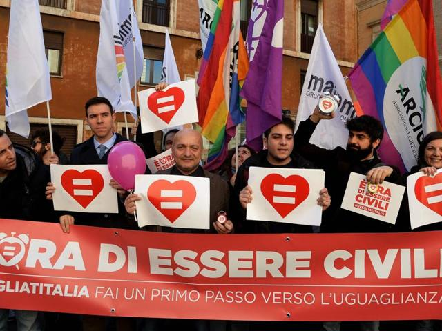 Italy's parliament gave a green light for the introduction of gay civil unions in the last major Western country not to legally recognise same-sex relationships.