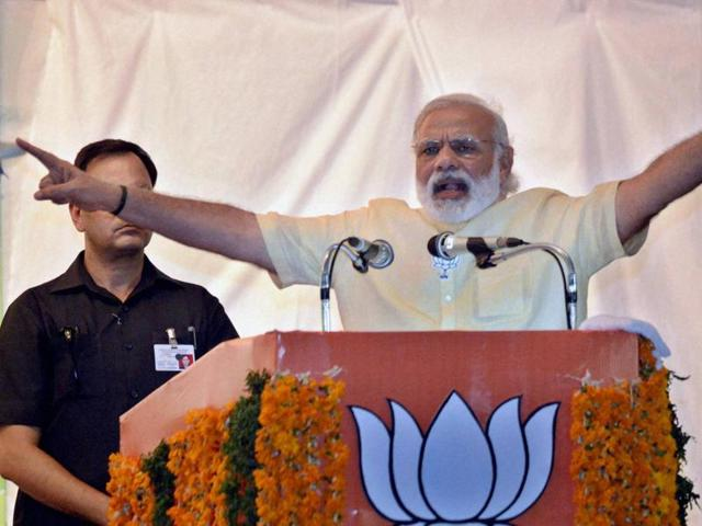 Prime minister Narendra Modi address during an Assembly elections meeting at Thiruvananthapuram in Kerala.