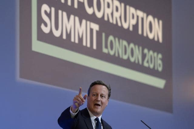IMF MD Christine Lagarde, Jose Ugaz of Transparency International, Daria Kaleniuk of Anti-corruption Action Centre, and Norway's Prime Minister Erna Solberg take part in a panel discussion at the Anti-Corruption Summit in London on Thursday