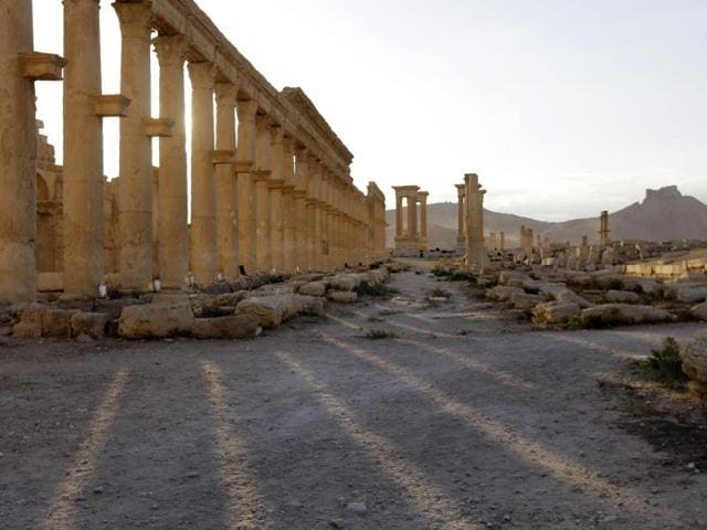 Remains of the Triumph's Arch, also called the Monumental Arch of Palmyra, in the ancient city of Palmyra in central Syria.