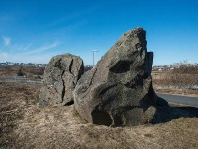 A boulder in Reykjavik, Iceland, that many believe is an elf palace.