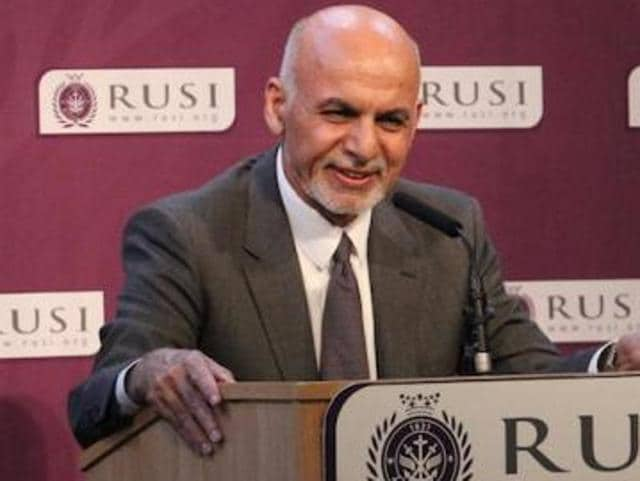 Afghan President Ashraf Ghani speaking at the Royal United Services Institute in London on Thursday.