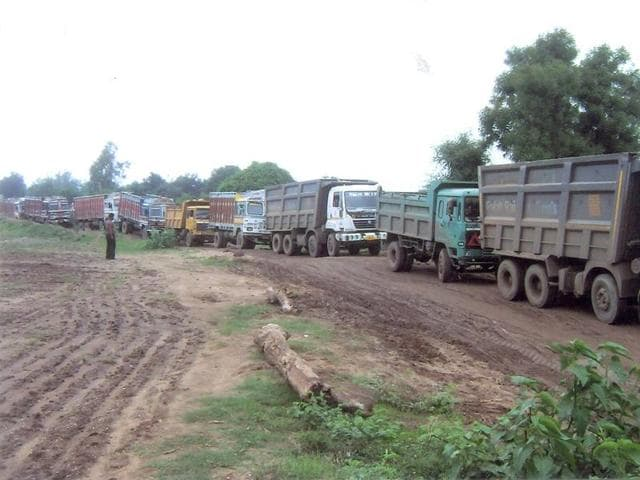 A photo released by the Congress on Thursday, which it says shows trucks allegedly used for illegal sand mining in Budhni, the assembly constituency of chief minister Shivraj Singh Chouhan.