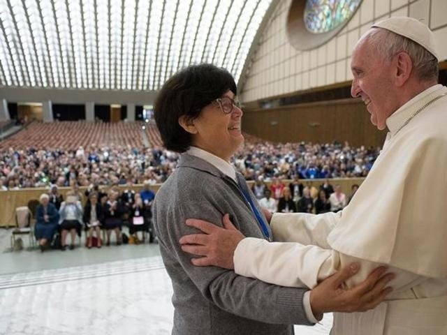 Pope Francis is greeted by Sister Carmen Sammut, a Missionary Sister of Our Lady of Africa, during an audience with UISG (International Union of Superiors General) at the Vatican.