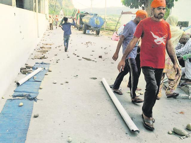 The scene after the clash between Guru Ravidas followers and police at Khuralgarh village in Hoshiarpur district on Thursday.