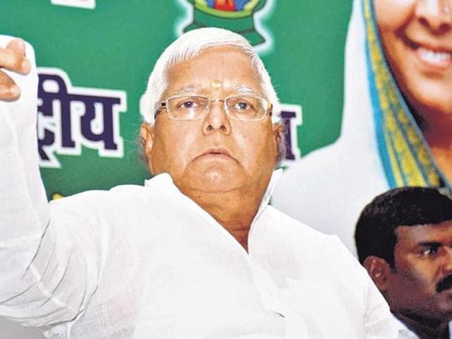 RJD chief Lalu Prasad at Chatra hospital on Friday to meet the relatives of TV journalist Indradev Yadav, who was shot dead on Thursday night.