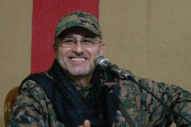 Adnan Badreddine, brother of top Hezbollah commander Mustafa Badreddine, grieves at his brother's picture. Lebanon's militant Hezbollah group said that its top military commander who was supervising its military operations in Syria, Mustafa Badreddine, was killed in an explosion in Damascus.