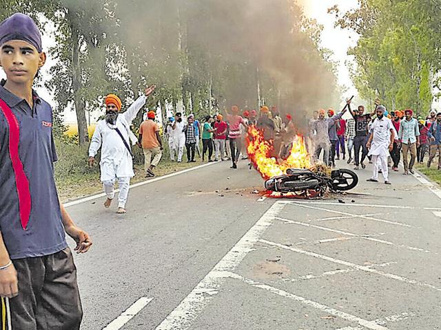 Behbal Kalan village in Faridkot district is where the sacrilege fire started after two Sikhs protesting against the desecration of Guru Granth Sahib died in police firing.