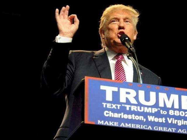 Republican US presidential candidate Donald Trump speaks to supporters in Charleston, West Virginia in this file photo.
