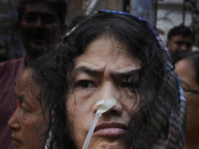 Irom Sharmila coming out of jail in Imphal in 2011 just before she was rearrested for fasting.