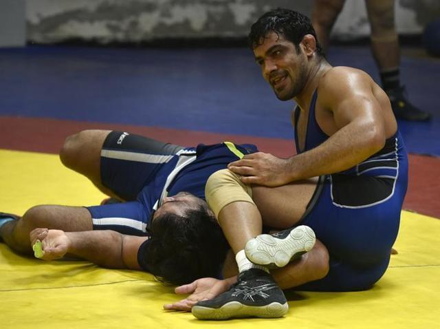 Wrestler Sushil Kumar during a practice session at Chhattarshal Stadium in New Delhi on Thursday.