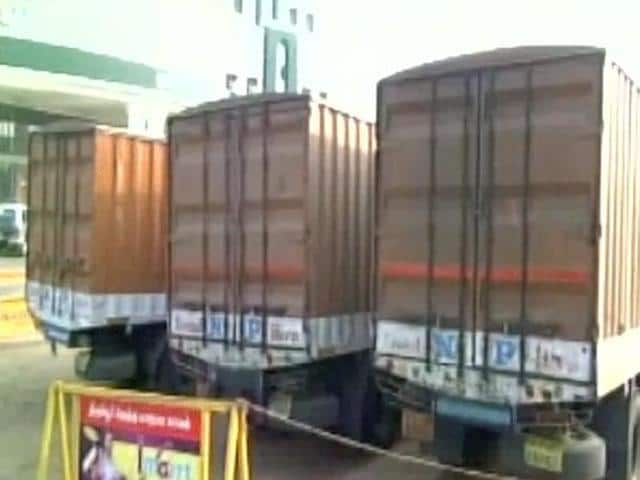 Officials said that personnel accompanying the containers told them that they were transferring Rs 570 crore from State Bank of India in Coimbatore to Vishakhapatnam branches.