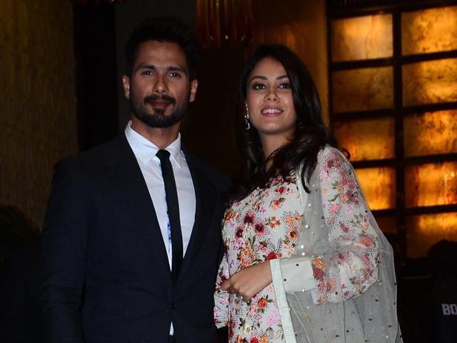 Shahid Kapoor, Mira Rajput at Preity Zinta's wedding reception. (Photo: Yogen Shah)