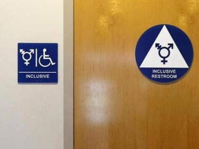 A gender-neutral bathroom is seen at the University of California, Irvine in Irvine, California