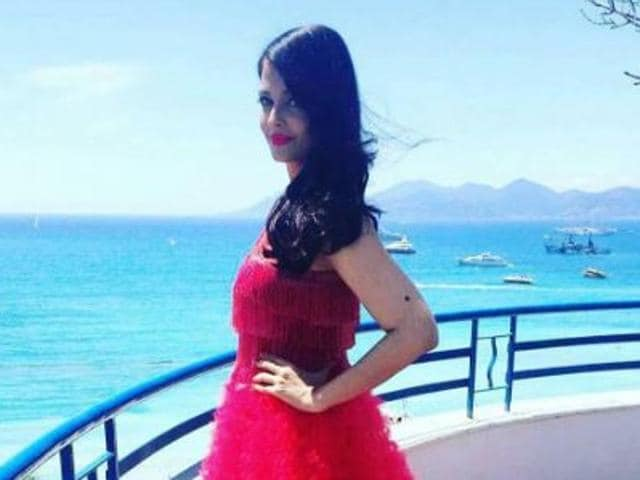 Bollywood actress Aishwarya Rai Bachchan chose to flaunt a red ruffled gown from the New York-based designer for an appearance at the Cannes Film Festival on Saturday.