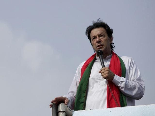 File photo of Pakistan Tehreek-e-Insaf chief Imran Khan addressing his supporters in Islamabad in August 2014.