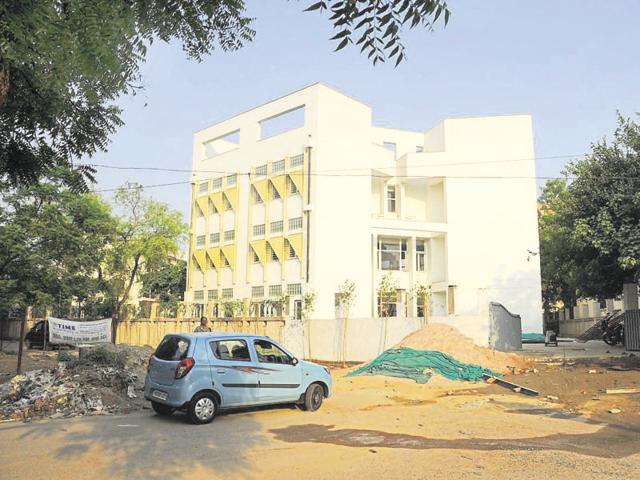 Residents say that a school has been constructed on the land allotted for a road in the area.
