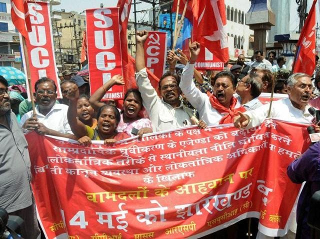 People protest against Non Residential Policy (domicile policy) implemented by the government of Jharkhand, in Ranchi.