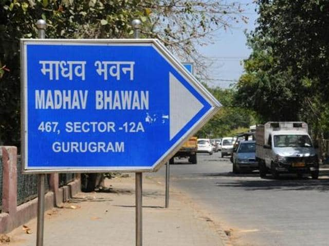 A sign board showing Gurugram mentioned in the address of RSS office in Gurgaon.