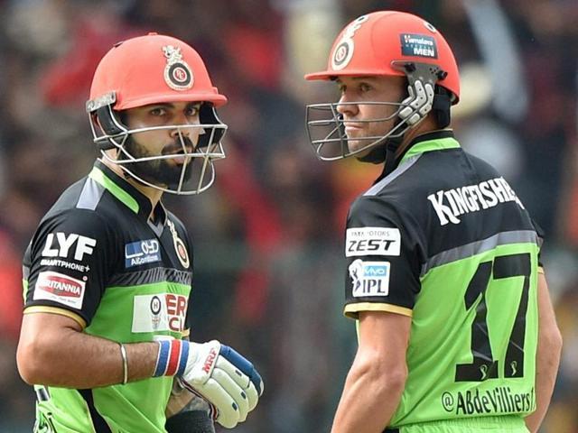 Royal Challengers Bangalore Virat Kohli and AB De Villiers during the IPL T20 match against Gujarat Lions.