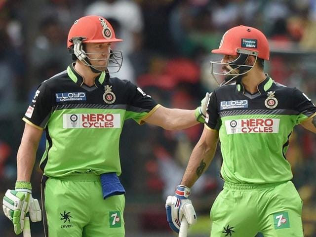 Royal Challengers Bangalore Virat Kohli and AB De Villiers during the IPL T20 match against Gujarat Lions.