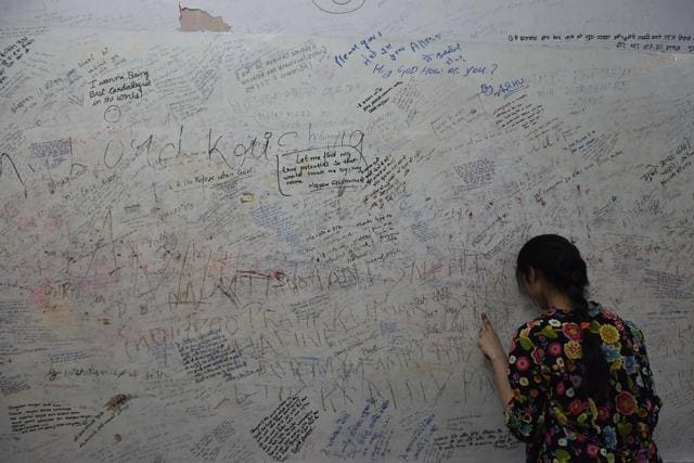 The wall of the Radha Krishna temple in Kota s Talwandi is popular among  students scribble their wishes in the hope that their prayers will be  answered. Inside Kota s coaching factories  Pressure  anxiety prey on