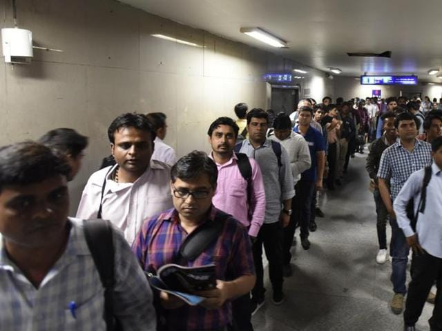 The call was received around 8.45 PM, following which a thorough search was conducted at both Janakpuri East and West stations on the blue line of Delhi metro, but no suspicious object was spotted. (Photo by Sonu Mehta/ Hindustan Times)
