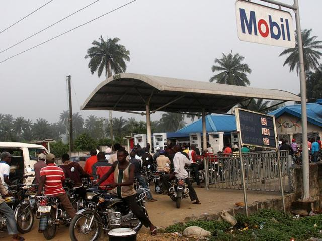 (Representative image)A petrol station in Ahaoda in Nigeria's Delta region. Renewed attacks by militants further cut production in Africa's biggest petroleum producing-nation.