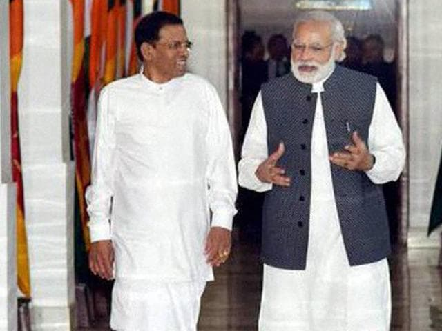 Prime Minister Narendra Modi with Sri Lankan President Maithripala Sirisena before their meeting in New Delhi.