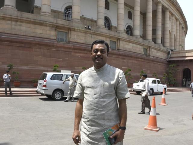 File photo of BJP spokesperson Sambit Patra outside Parliament in New Delhi.(Sonu Mehta/HT Photo)