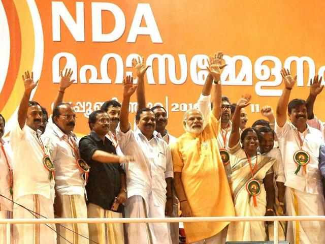 Prime Minister Narendra Modi with others party leaders at an election rally in Kochi on Wednesday.
