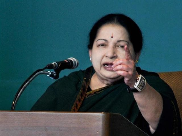 In this file photo, Tamil Nadu chief minister and AIADMK supremo J Jayalalithaa addresses a gathering at a rally in Tirunelveli.