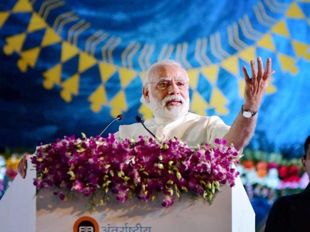 Prime Minister Narendra Modi addresses a session of International Vichar Maha Kumbh in Ujjain.