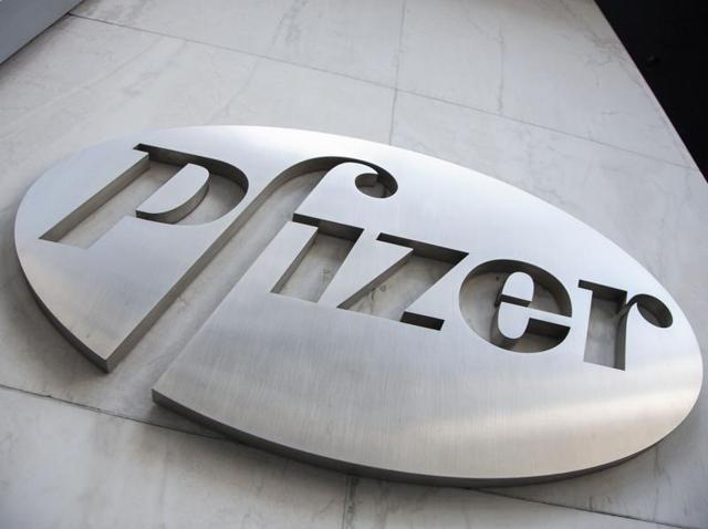 The Pfizer logo is seen at their headquarter in New York.