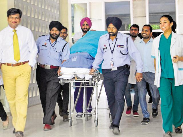 Organs being shifted from PGI to Fortis hospital on Saturday.