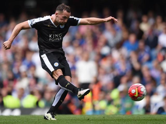 Danny Drinkwater scores the first goal for Leicester City.