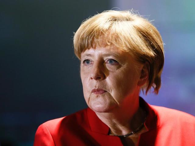 German Chancellor Angela Merkel attends the opening of the Europa Experience exhibition in the European House in Berlin.