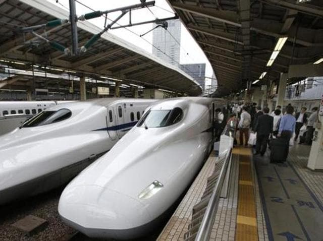 Passengers get on the Shinkansen high-speed train at Tokyo station. A high-level Indian delegation has gone to Japan to discuss a way forward for realisation of bullet train between Mumbai and Ahmedabad.