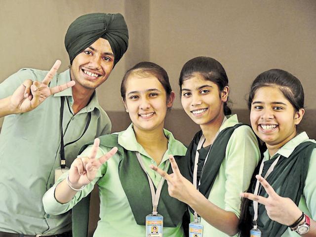 (From left) Harshpreet, Pawandeep, Chenu Bala and Vaishali in a jubilant mood in Ludhiana on Saturday.