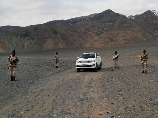 ITBP troops with their brand new SUV at forward areas along the China border.