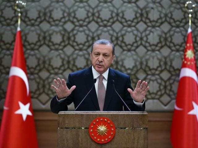 Turkish President Recep Tayyip Erdogan addresses a meeting of local administrators at his palace in Ankara. Erdogan lashed out at Europe's silence over the execution of an Islamist leader in Bangladesh.