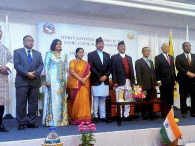 Saarc nations' representatives at the 37th Ministerial Meeting in Pokhara, Nepal.