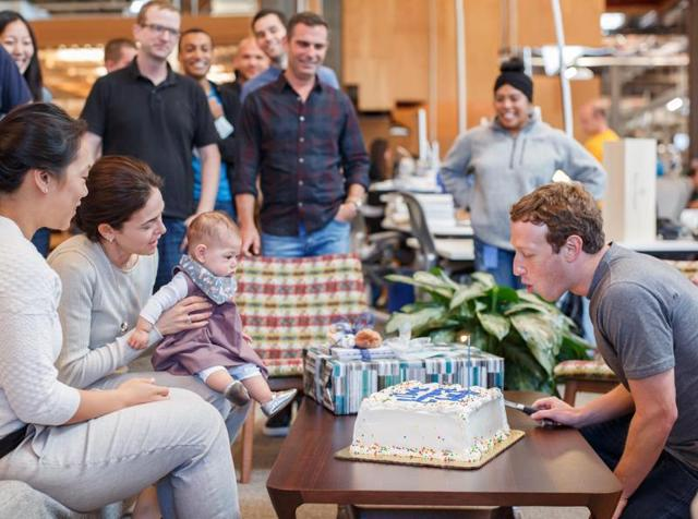 Facebook founder Mark Zuckerberg celebrated his 32nd birthday at the company headquarters with his daughter Max.